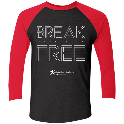 Teen Challenge MidSouth  - Adult Raglan T-Shirt - Break Free