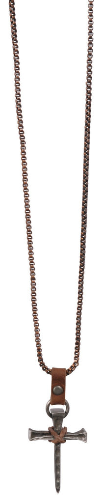Nail Cross On Copper Necklace - Christian Necklace