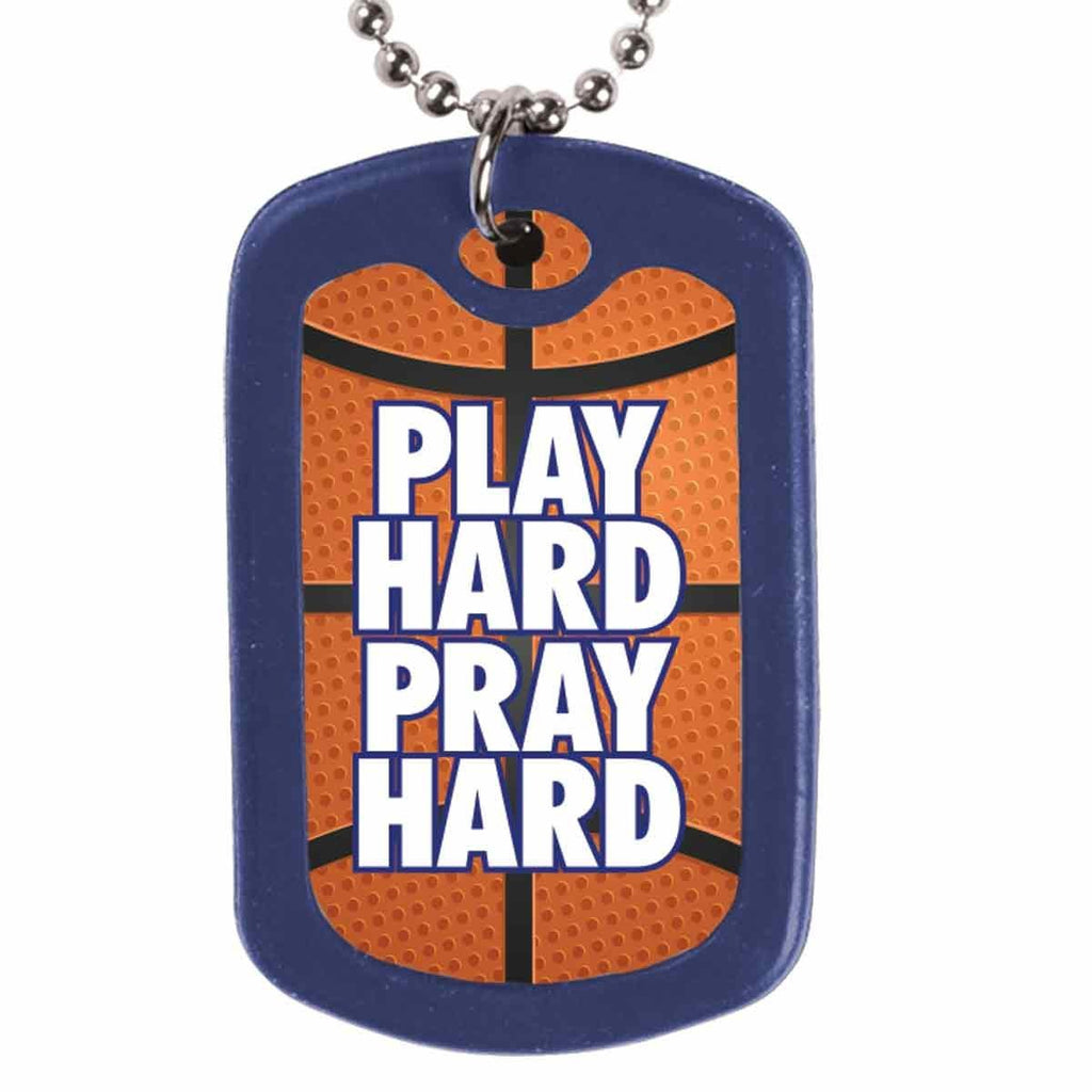 Play Hard Pray Hard Dog Tag Necklace
