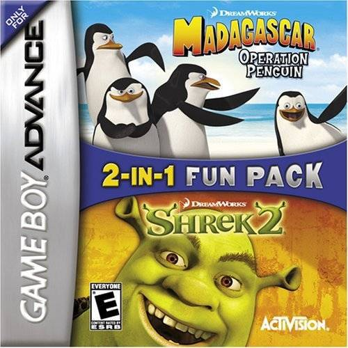 2-In-1 Fun Pack Dreamworks Madagascar Operation Penguin  Dreamworks Shrek 2 - Game Boy Advance
