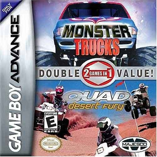 2 Games In 1 Double Value! Monster Trucks Quad Desert Fury - Game Boy Advance