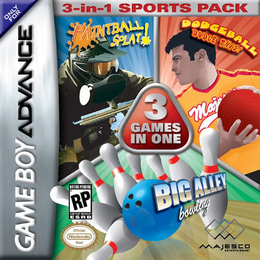 3-in-1 Sports Pack Paintball Splat!  Dodgeball Dodge This!  Big Alley Bowling - Game Boy Advance