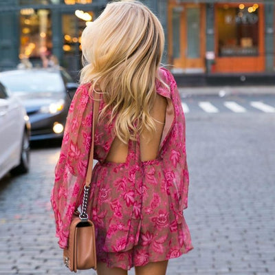 Bohemian Floral Open Back Playsuits