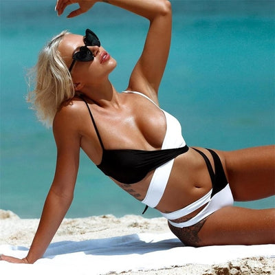 Cross Top Bandage Black and White Bikini