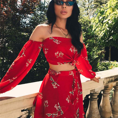Red Flame Off The Shoulder Crop 2 Piece