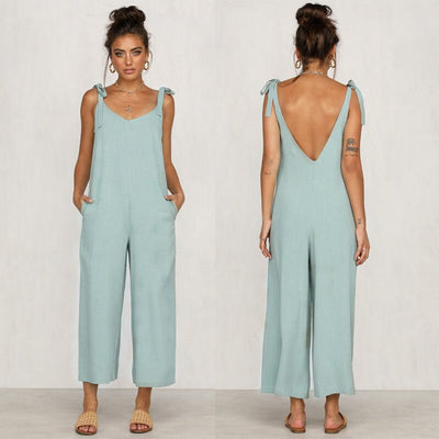 Loose Linen Sleeveless Jumpsuit