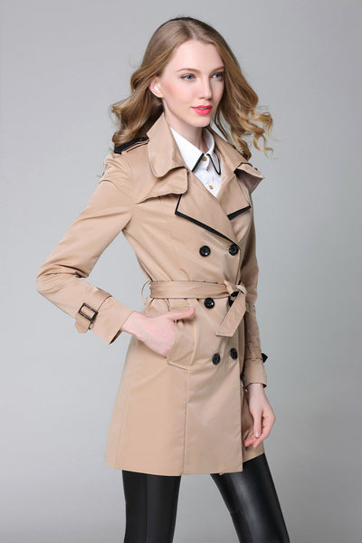 Beige Double Breasted Trench Coat