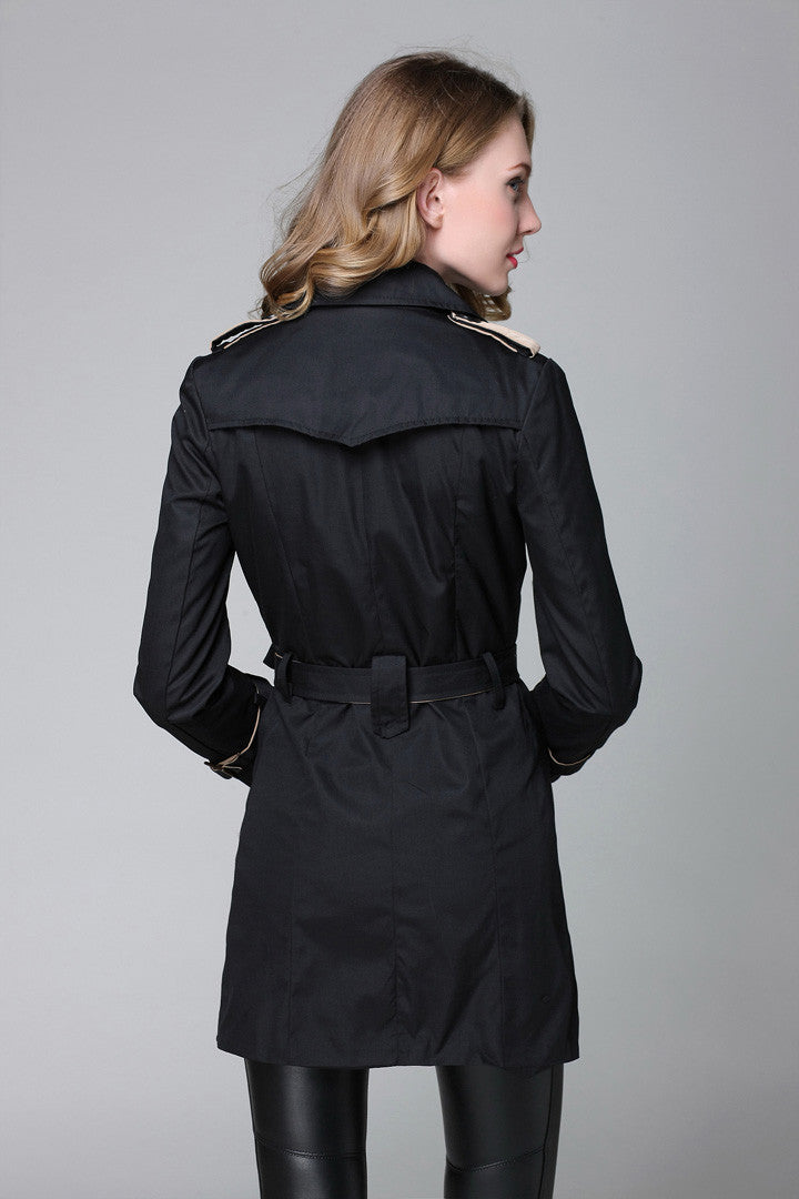 Black Double Breasted Trench Coat