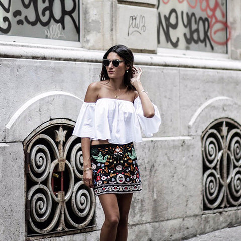 Embroidered Vintage Mini Skirt