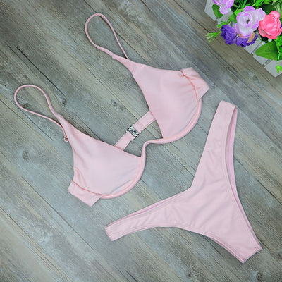High Leg Thong Bikini Set