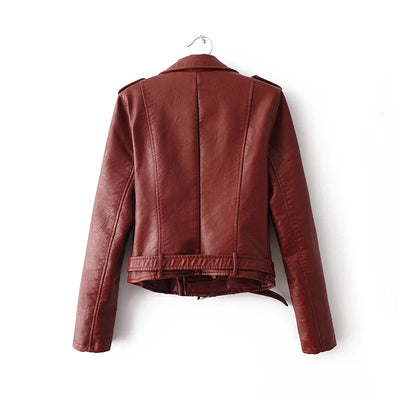 Wine Red PU Leather Jacket