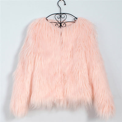 Peachy Pink Long Haired Fur Coat