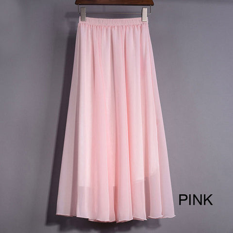 High Waist Chiffon Maxi Skirt