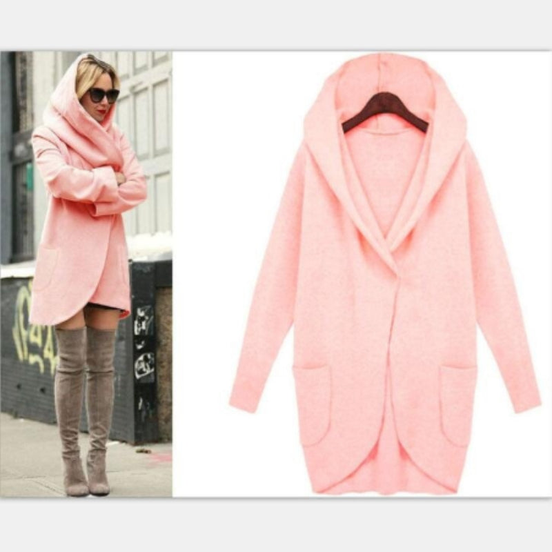 Pink Oversized Slouch Hooded Jacket