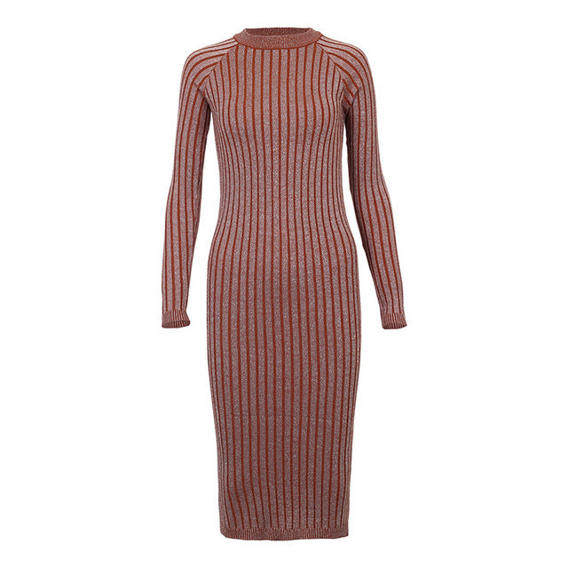 Long Sleeve Knitted Ribbed Dress