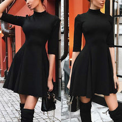 3/4 Sleeve Turtleneck Skater Dress