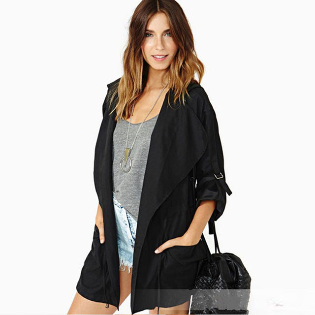 Black Waterfall Front Hooded Jacket
