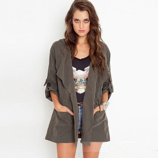 Dark Gray Waterfall Front Hooded Jacket