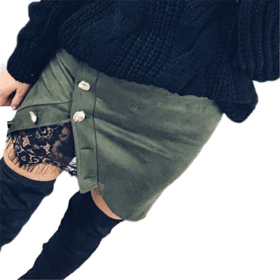 Faux Suede Button Side Mini Skirt