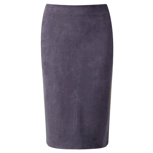 Suede Midi Pencil Skirt