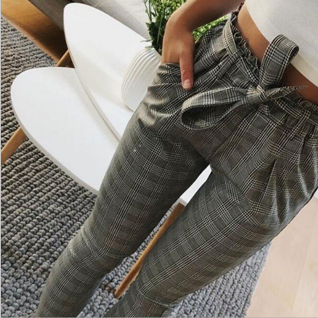 Striped High Waisted Paper Bag Trouser