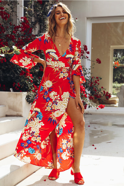 Floral Print 3/4 Sleeve Boho Maxi Dress