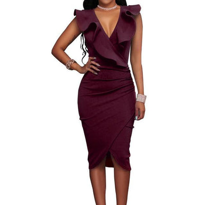 V Neck Pencil Dress