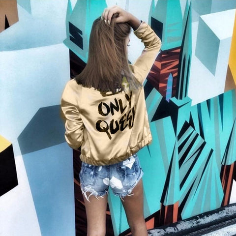 Gold 'Only Queen' Bomber