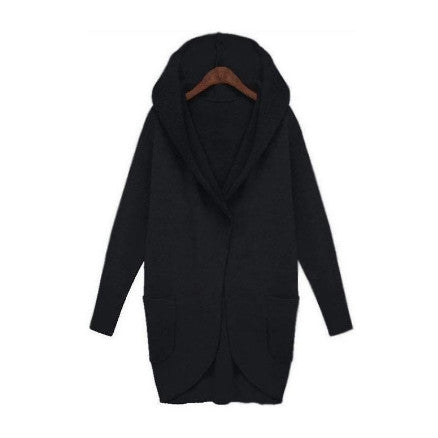 Black Oversized Slouch Hooded Jacket