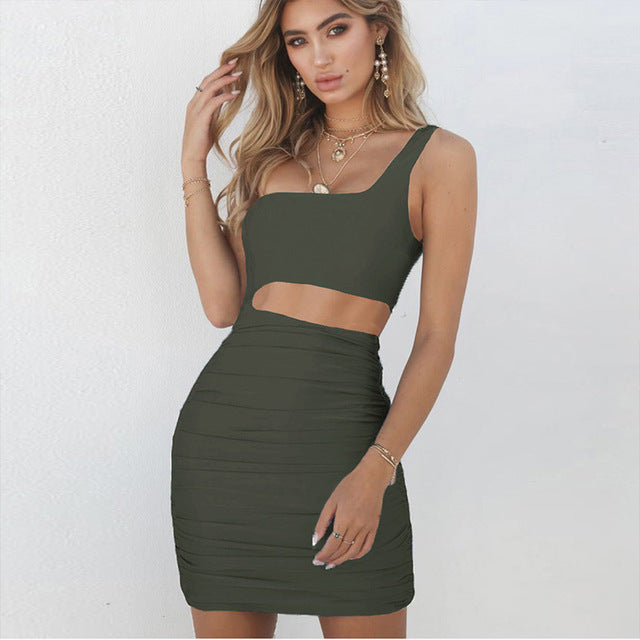 One Shoulder Ruched Bodycon Dress