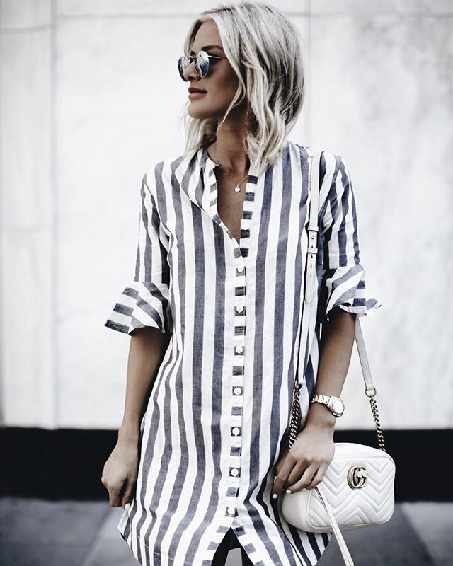 Black & White Striped Shirt Dress