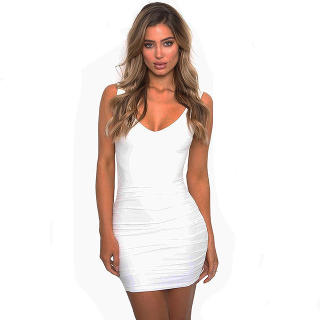 V-Neck Sleeveless Backless Bodycon Dress