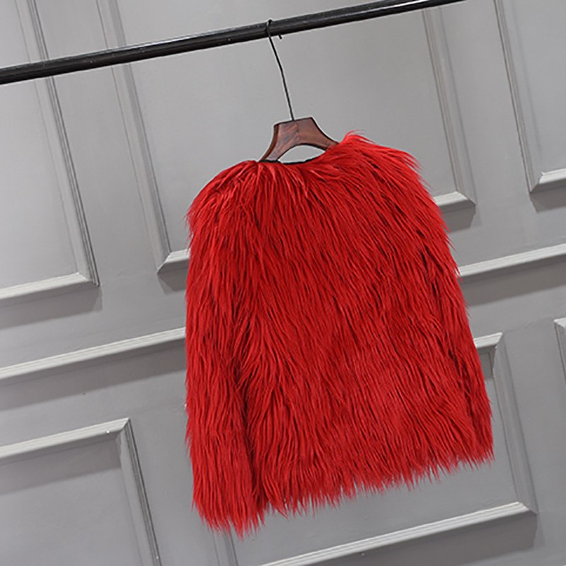 Red Long Haired Fur Coat