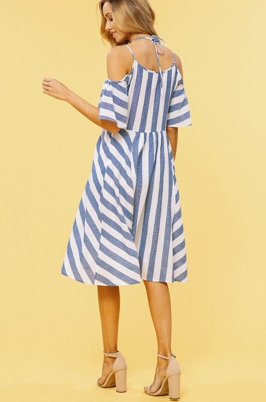 Cold Shoulder Thick Stripes Dress