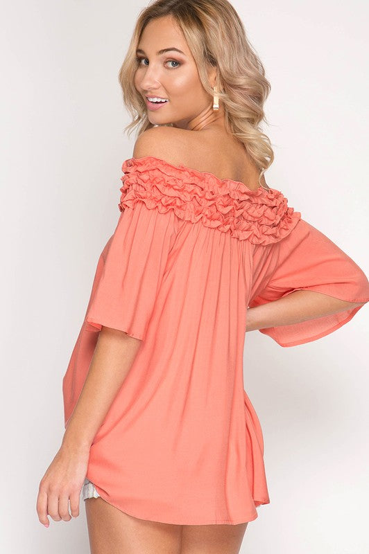 Cotton Ruffled Off the Shoulder Top