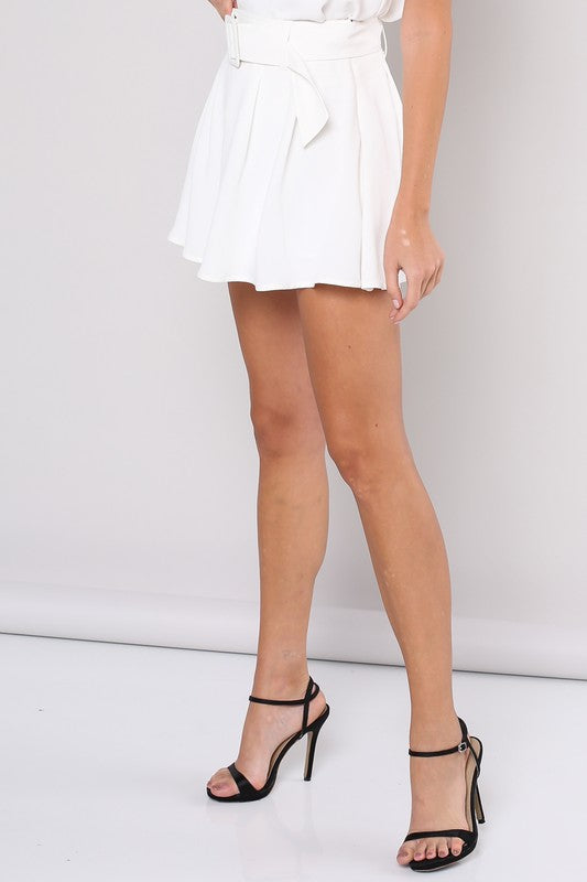 Saturday White Live Belted Shorts