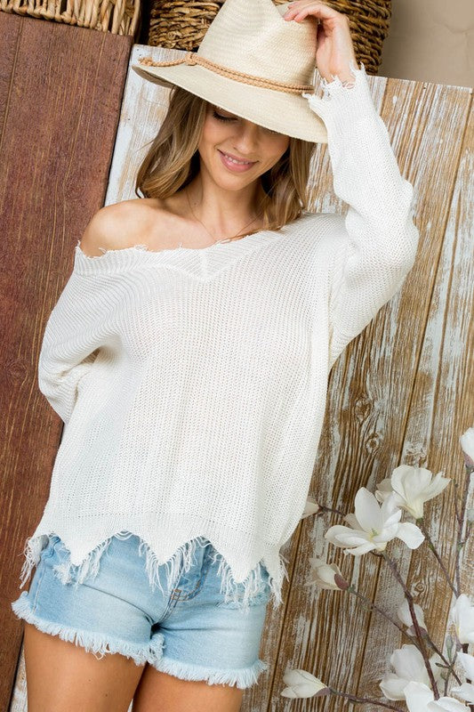 Distressed to Impress Lightweight Sweater Ivory