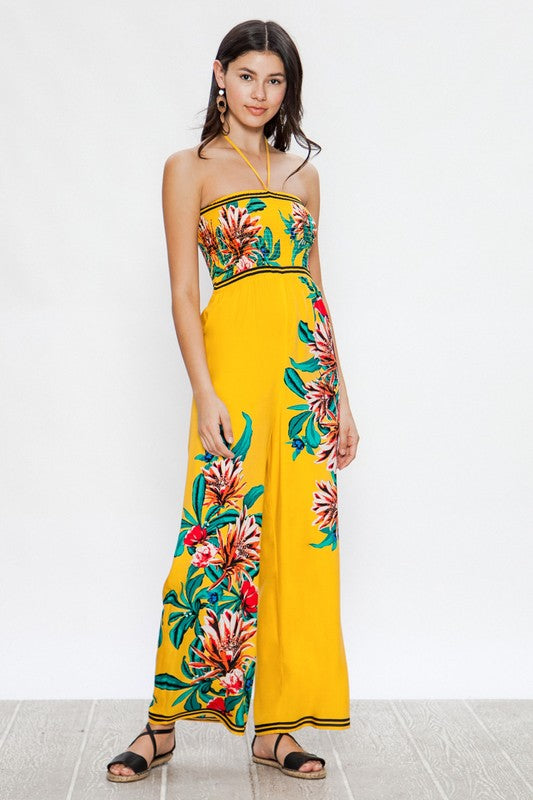 Mellow Yellow Floral Print Jumpsuit