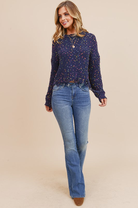 Confetti Knit Sweater Navy