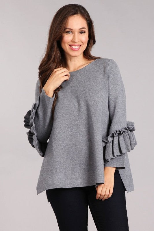 Kickin Up Leaves Sweater Grey
