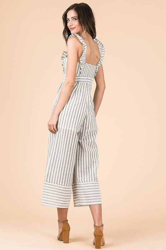 Striped Capri Jumpsuit with Ruffle Shoulder Straps