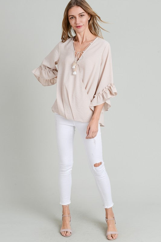 Sweeter In Stripes Top Taupe