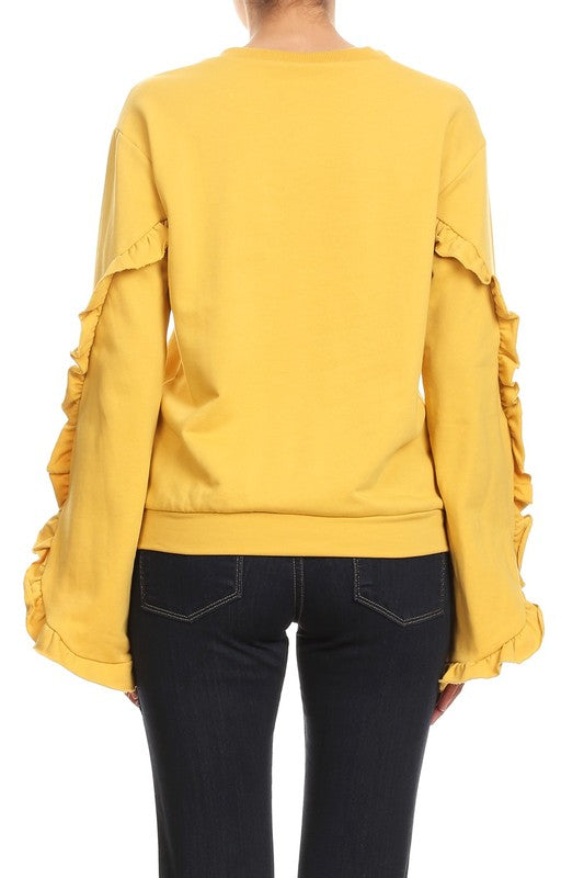 Praying For Pearls Sweatshirt Mustard
