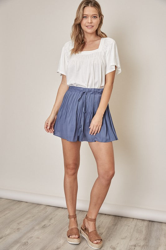 The Julie Pleated Shorts in Indigo