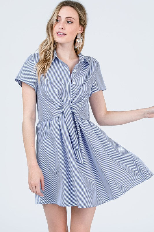 Button Down Front Tie Dress