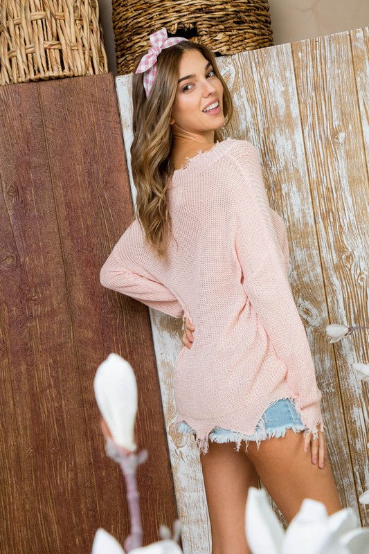 Distressed to Impress Lightweight Sweater Blush