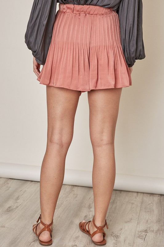 The Julie Pleated Shorts in Clay