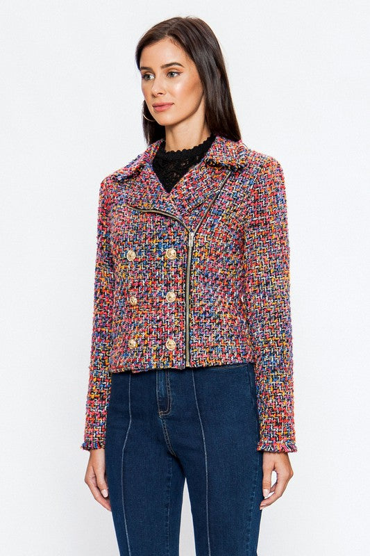 Classic and Colorful Tweed Chanel Style Jacket