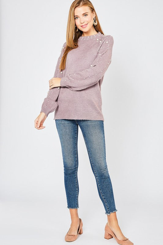 Sweet Mother Of Pearl Sweater Dusty Lavender