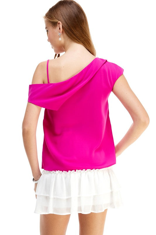 Speak For Yourself One Shoulder Blouse Magenta